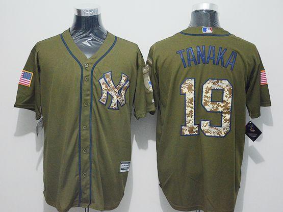 Mens Majestic New York Yankees #19 Masahiro Tanaka  Green Fashion 2016 Memorial Day Jersey
