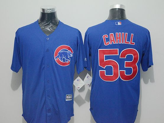 Mens Majestic Chicago Cubs #53 Trevor Cahill Blue Flexbase Collection Jersey