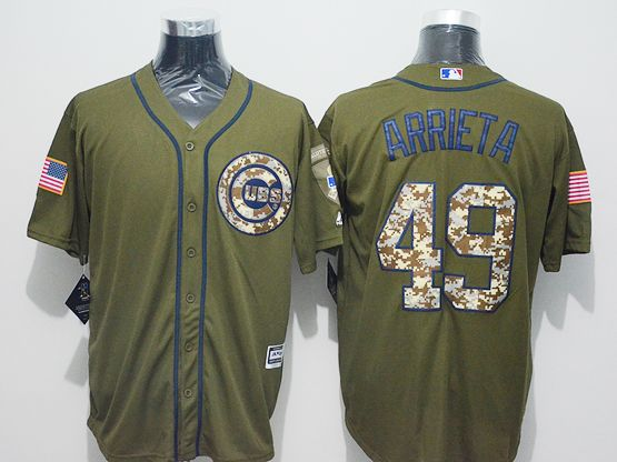 Mens Majestic Chicago Cubs #49 Jake Arrieta Green Fashion 2016 Memorial Day Jersey