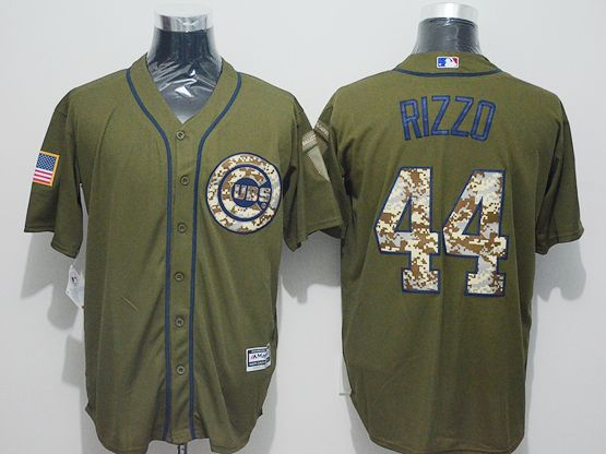 Mens Majestic Chicago Cubs #44 Anthony Rizzo Green Fashion 2016 Memorial Day Jersey