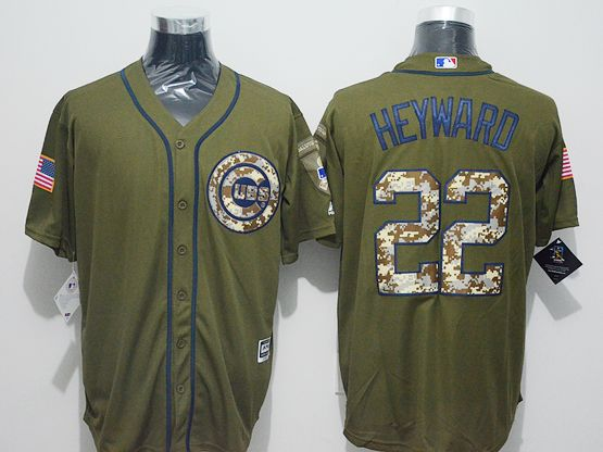 Mens Majestic Chicago Cubs #22  Jason Heyward Green Fashion 2016 Memorial Day Jersey