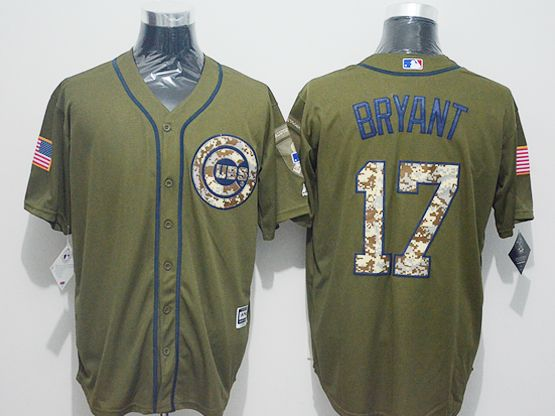 Mens Majestic Chicago Cubs #17 Kris Bryant Green Fashion 2016 Memorial Day Jersey