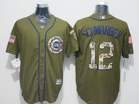 Mens Majestic Chicago Cubs #12 Kyle Schwarber Green Fashion 2016 Memorial Day Jersey