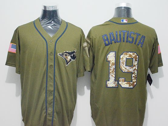 Mens Majestic Toronto Blue Jays #19 Jose Bautista Green Fashion 2016 Memorial Day Jersey