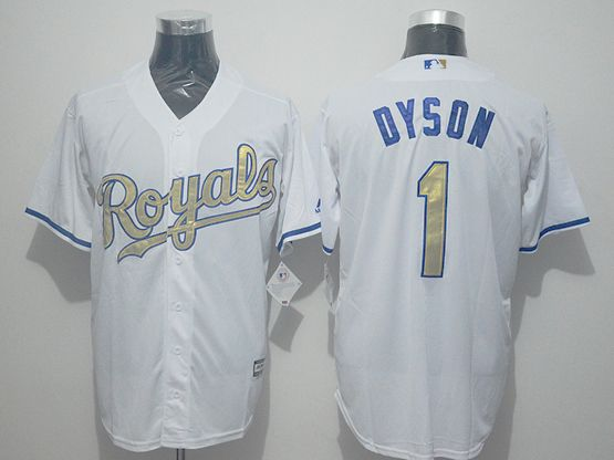 Mens Majestic Kansas City Royals #1 Jarrod Dyson White Gold Program Cool Base Jersey