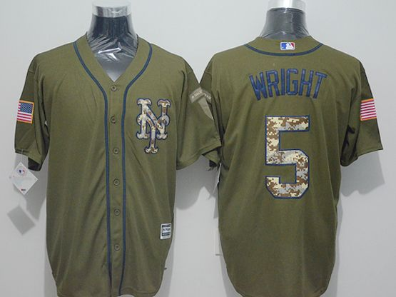Mens Majestic New York Mets #5 David Wright Green Fashion 2016 Memorial Day Jersey