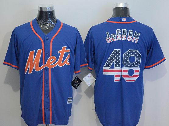 Mens Majestic  New York Mets #48 Jacob Degrom Blue Stripe Usa Flag Jersey