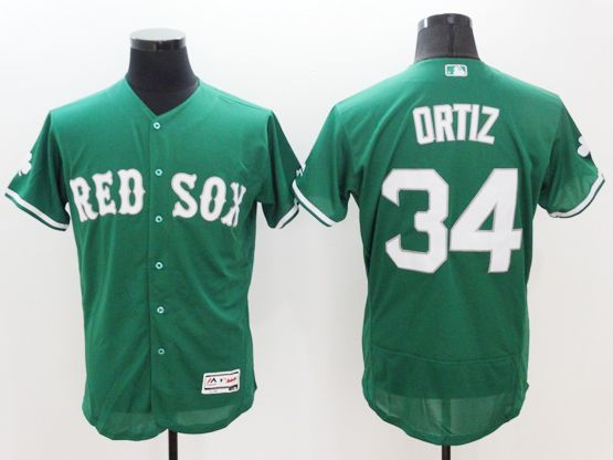 Mens Majestic Boston Red Sox #34 David Ortiz Green Flexbase Collection Jersey