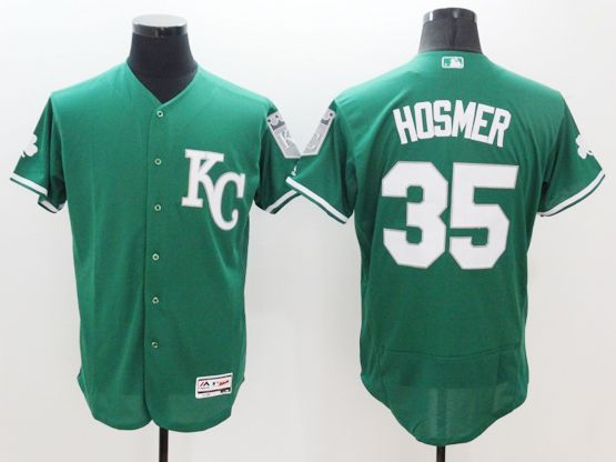 mens majestic kansas city royals #35 eric hosmer green Flex Base jersey