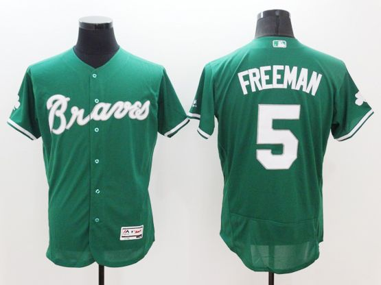 mens majestic atlanta braves #5 freddie freeman green Flex Base jersey