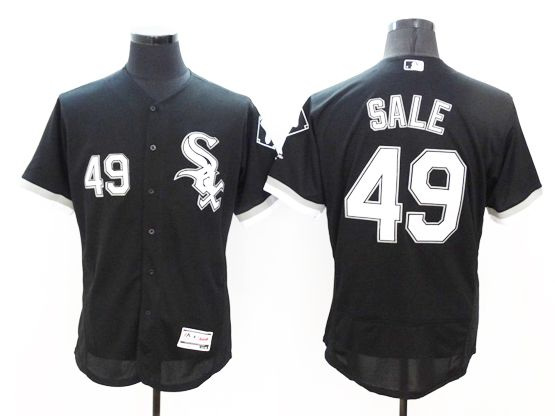 mens majestic chicago white sox #49 chris sale black Flex Base jersey