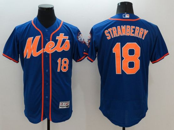 mens majestic new york mets #18 darryl strawberry blue Flex Base jersey