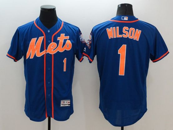 mens majestic new york mets #1 mookie wilson blue Flex Base jersey