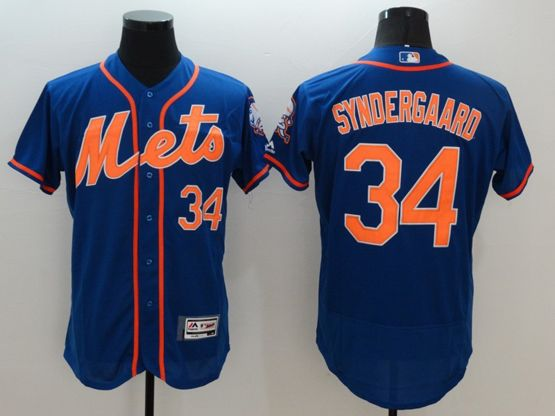 Mens Majestic New York Mets #34 Noah Syndergaard Blue Flexbase Collection Jersey