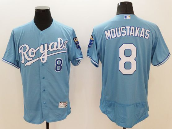 mens majestic kansas city royals #8 mike moustakas blue (royals)  Flex Base jersey jersey