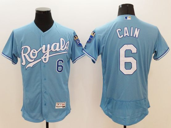 Mens Majestic Kansas City Royals #6 Lorenzo Cain Blue (royals)  Flex Base Jersey