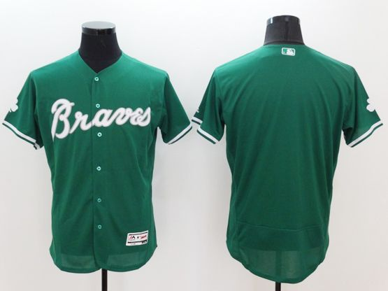 mens majestic atlanta braves blank green Flex Base jersey