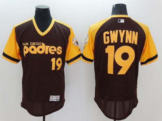 mens majestic san diego padres #19 tony gwynn coffee (yellow) throwbacks Flex Base jersey
