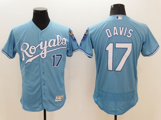 Mens Majestic Kansas City Royals #17  Wade Davis Blue (royals) Flex Base Jersey