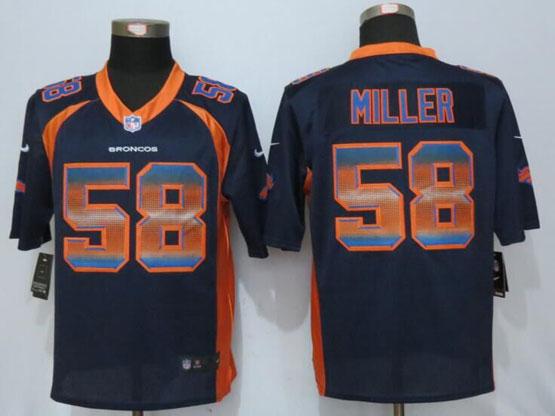 Mens Nfl New   Denver Broncos #58 Von Miller Navy Blue Strobe Limited Jersey