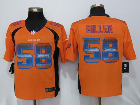 Mens Nfl New   Denver Broncos #58 Von Miller Orange Strobe Limited Jersey