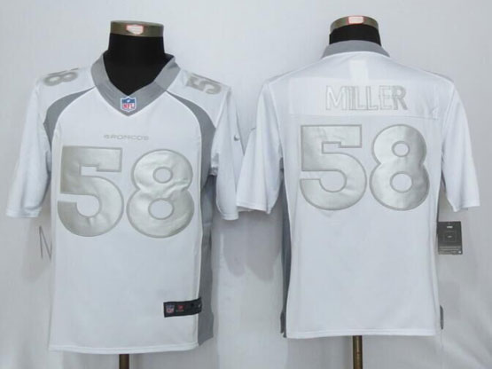 Mens Nfl New Nike Denver Broncos #58 Von Miller White Platinum Limited Jerseys