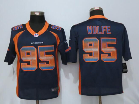 Mens Nfl New   Denver Broncos #95 Derek Wolfe Navy Blue Strobe Limited Jersey