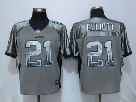 Mens Nfl New Nike Dallas Cowboys #21 Ezekiel Elliott Gray Drift Fashion Elite Jerseys