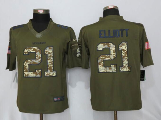 Mens Nfl New Nike Dallas Cowboys #21 Ezekiel Elliott Green Salute To Service Limited Jersey