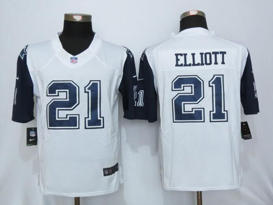 Mens Nfl New   Dallas Cowboys #21 Ezekiel Elliott White (2015 New) Thanksgiving Limited Jersey