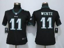 Women  Nfl Nike Philadelphia Eagles #11 Carson Wentz Black Elite Jersey