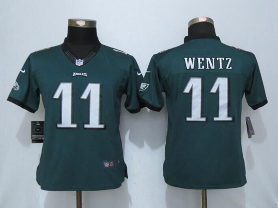 Women  Nfl Nike Philadelphia Eagles #11 Carson Wentz Green Limited Jersey