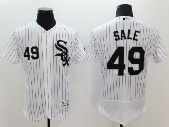 mens majestic chicago white sox #49 chris sale white stripe Flex Base jersey