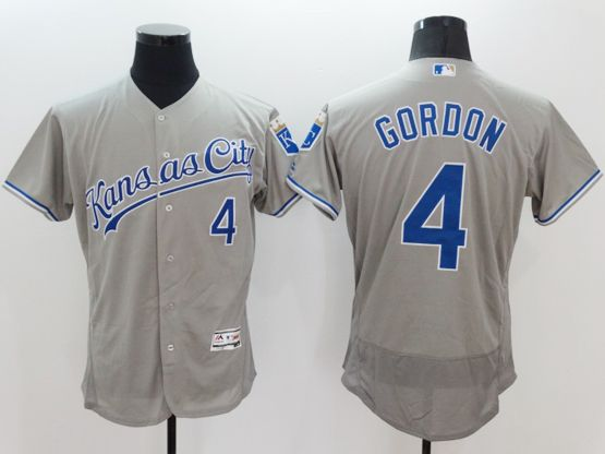 mens majestic kansas city royals #4 alex gordon gray Flex Base jersey