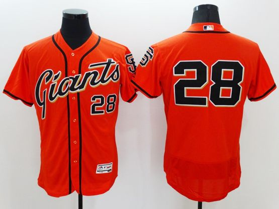 Mens Majestic San Francisco Giants #28 Buster Posey Orange Flexbase Collection Jersey