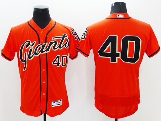 Mens Majestic San Francisco Giants #40 Madison Bumgarner Orange Flexbase Collection Jersey