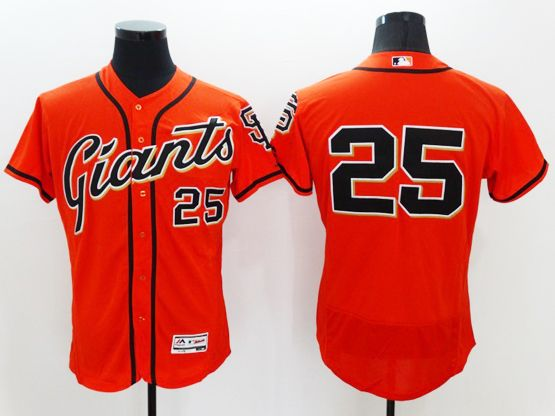 mens majestic san francisco giants #25 barry bonds orange Flex Base jersey