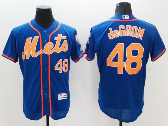 Mens Majestic New York Mets #48 Jacob Degrom Blue Flexbase Collection Jersey