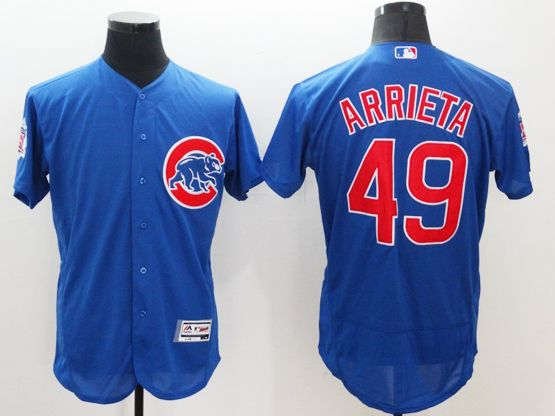 Mens Majestic Chicago Cubs #49 Jake Arrieta Biue Flexbase Collection Jersey