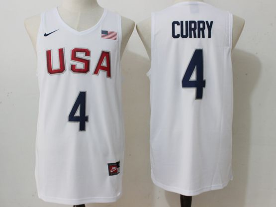 Mens Nba 12 Dream Team #4 Stephen Curry White Jersey