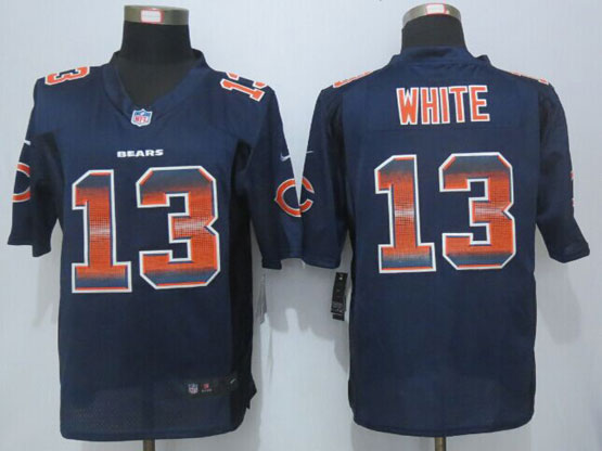 Mens Nfl Chicago Bears #13 Kevin White Navy Blue Strobe Limited Jersey