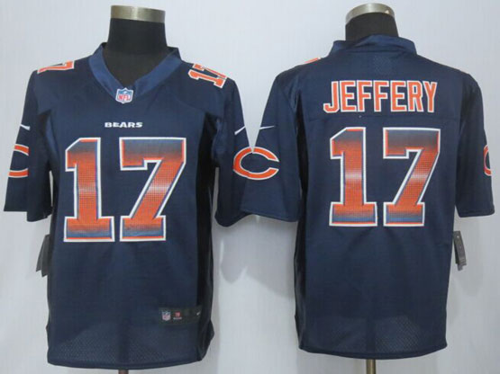 Mens Nfl Chicago Bears #17 Alshon Jeffery Navy Blue Strobe Limited Jersey