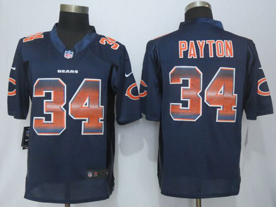 Mens Nfl Chicago Bears #34 Walter Payton Navy Blue Strobe Limited Jersey