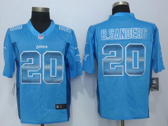 mens nfl Detroit Lions #20 Barry Sanders blue strobe limited jersey