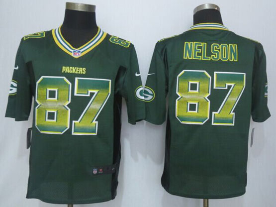 Mens Nfl Green Bay Packers #87 Jordy Nelson Green Strobe Limited Jersey