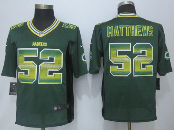 Mens Nfl Green Bay Packers #52 Clay Matthews Green Strobe Limited Jersey