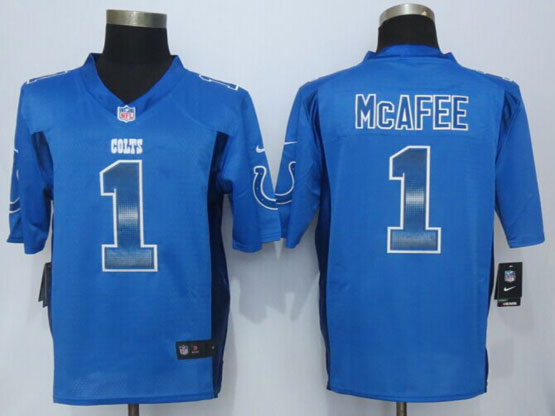 Mens Nfl Indianapolis Colts #1 Pat Mcafee Blue Strobe Limited Jersey
