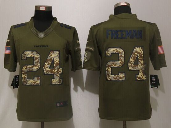 Mens Nfl Atlanta Falcons #24 Devonta Freeman Green Salute To Service Limited Jersey