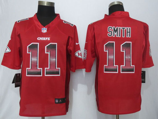 Mens Nfl Kansas City Chiefs #11 Alex Smith Red Strobe Limited Jersey
