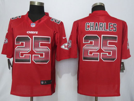 Mens Nfl Kansas City Chiefs #25 Jamaal Charles Red Strobe Limited Jersey